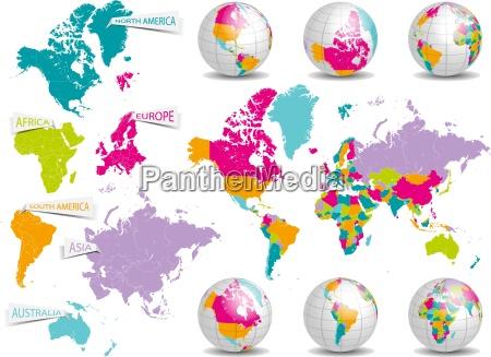 mapa planetas globo terra continentes