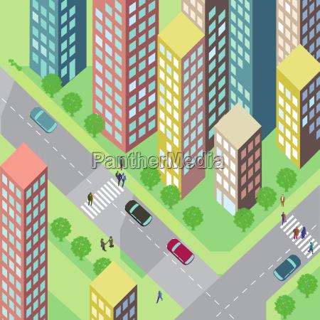 calle con casas y coches