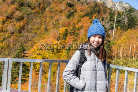 young beautiful woman visit tateyama