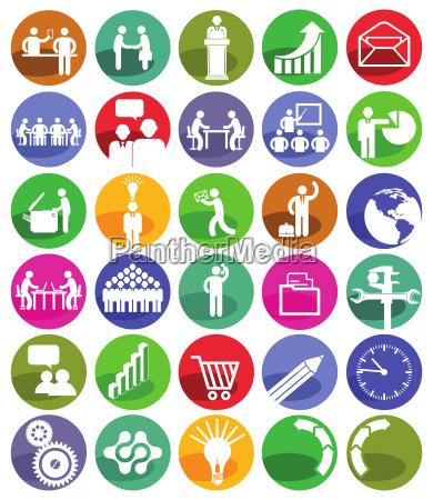 gestion de negocios conjunto de iconos