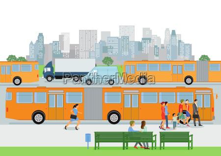 parada de autobus con el autobus