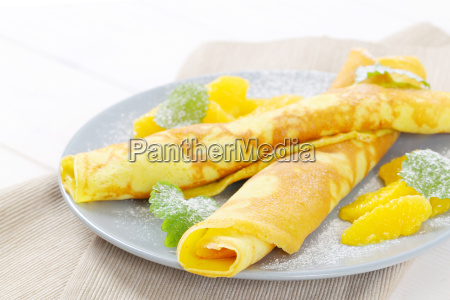 crepes with fresh oranges