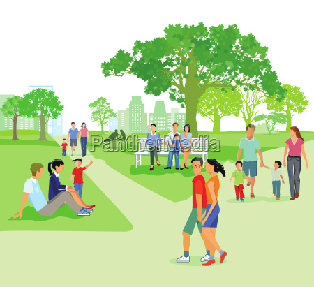 city park in summer with families