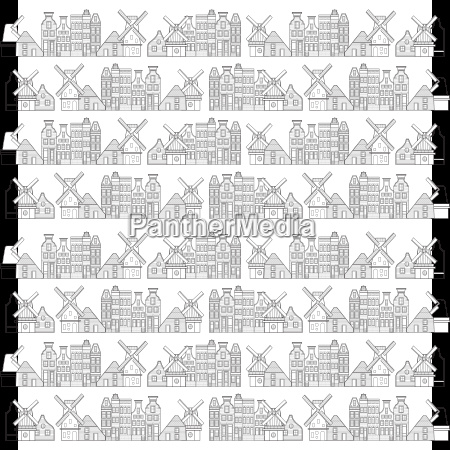 amsterdam houses windmill and city pattern