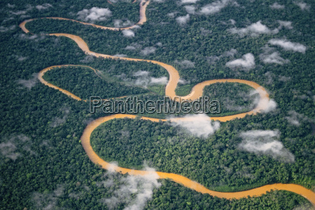 meandering river viewed from the air